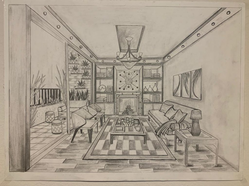 Sketch of Living Room for the client